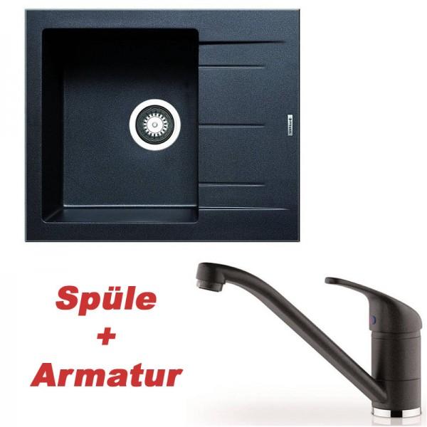 Pyramis Spülenset Granitspüle ALAZIA Carbon (59x50) 1B 1D und Armatur MODO Carbon