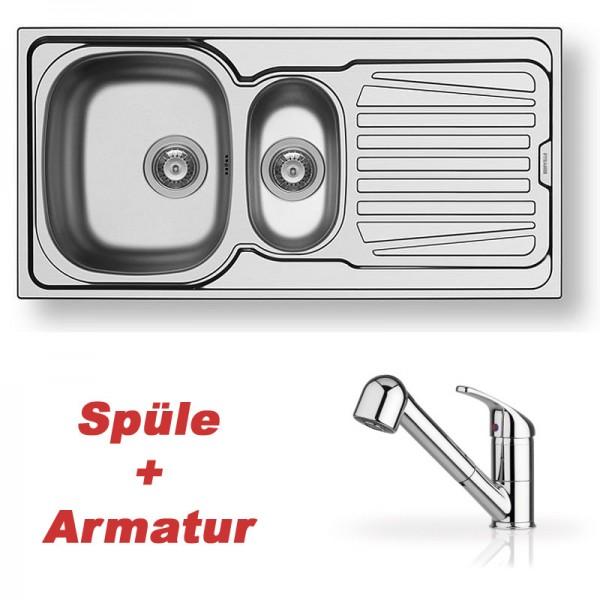Pyramis Spülenset Edelstahlspüle SPARTA (100x50) 1 1/2B 1D glatt und Armatur FESTIVO chrom mit Schlauchbrause