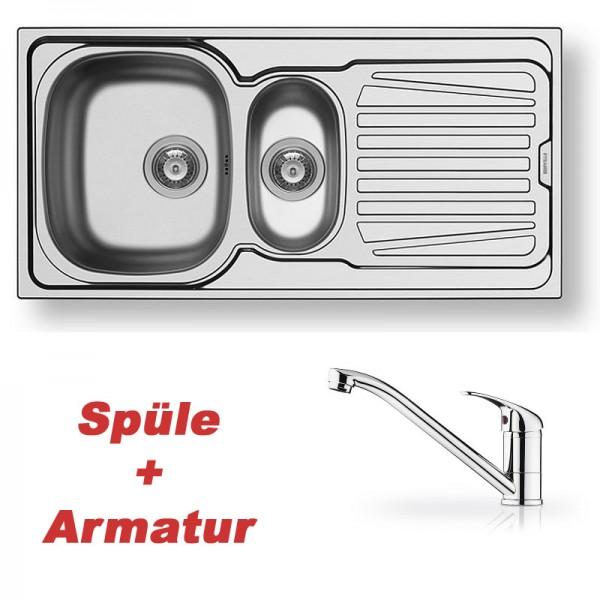 Pyramis Spülenset Edelstahlspüle SPARTA (100x50) 1 1/2B 1D glatt und Armatur PRIMA chrom