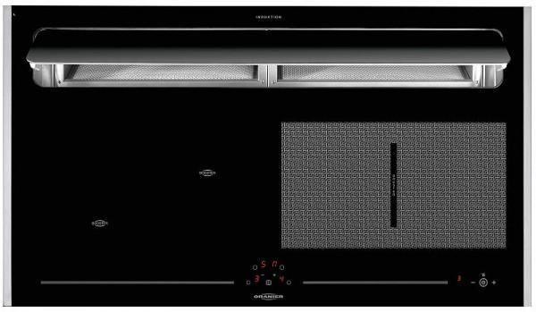 Oranier KXI 1092 Basic-PLUS FlexX‐Induktion mit Kochfeldabzug Abluft Edelstahl-Seitenleisten 91 cm
