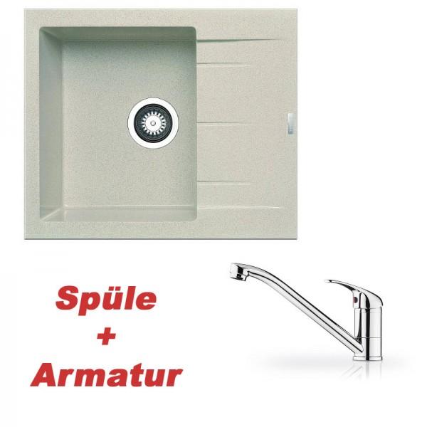 Pyramis Spülenset Granitspüle ALAZIA Beige (59x50) 1B 1D und Armatur PRIMA chrom