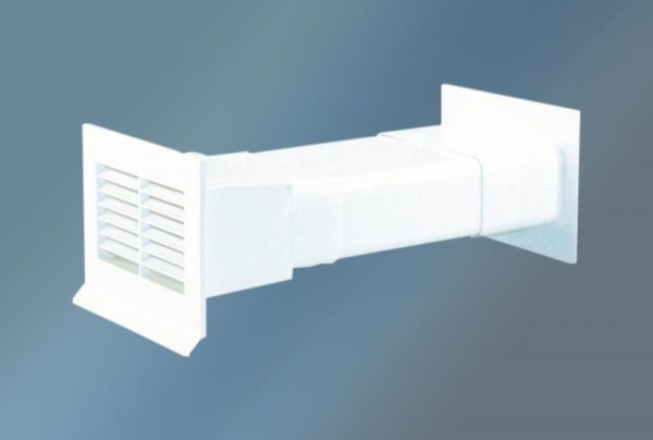 Quellmalz Mauerkasten Flachanschluss mit Rückstauklappe Weiß