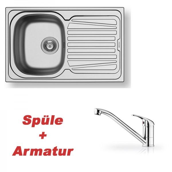 Pyramis Spülenset Edelstahlspüle SPARTA (79x50) 1B 1D glatt und Armatur PRIMA